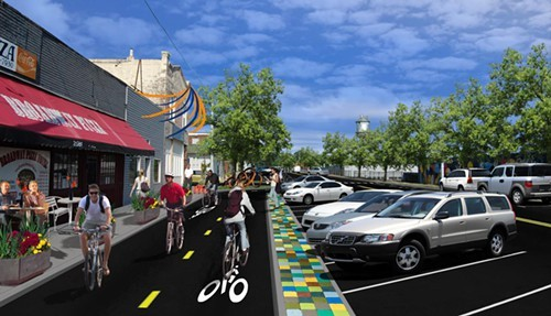 A rendering of the Hampline shows the two-lane design and physical barrier that distinguishes the project from standard bike lanes.