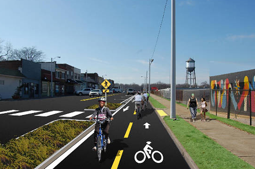 A rendering of the proposed green lane for Broad Avenue.