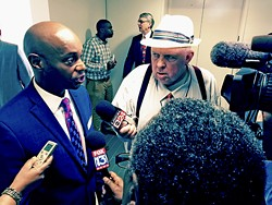 A satisfied Superintendent Dorsey Hopson faces the press after budget hearing. - JB
