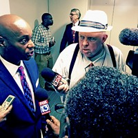 A satisfied Superintendent Dorsey Hopson faces the press after budget hearing.