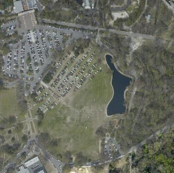 A sattelite image shows parking on Overton Parks Greensward.