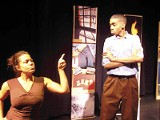 A scene from Pretty Fire, with Lisa Carter and A.J. Tucker