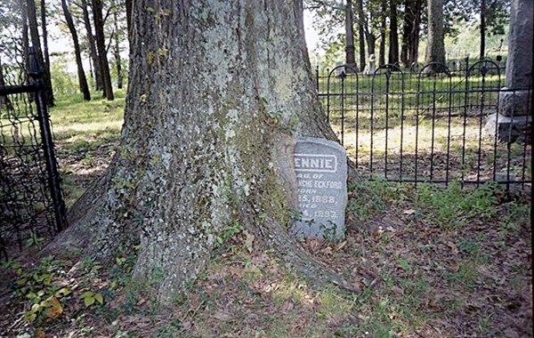 A tombstone at Old Raleigh Cemetery