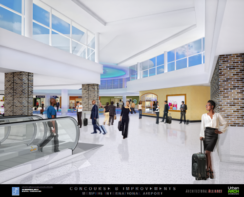 A view of the new skylighting that will be added to concourse B