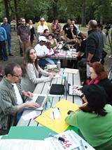 JACOB FLOWERS - About 70 people met in Overton Park last week for the first Occupy Memphis gathering.