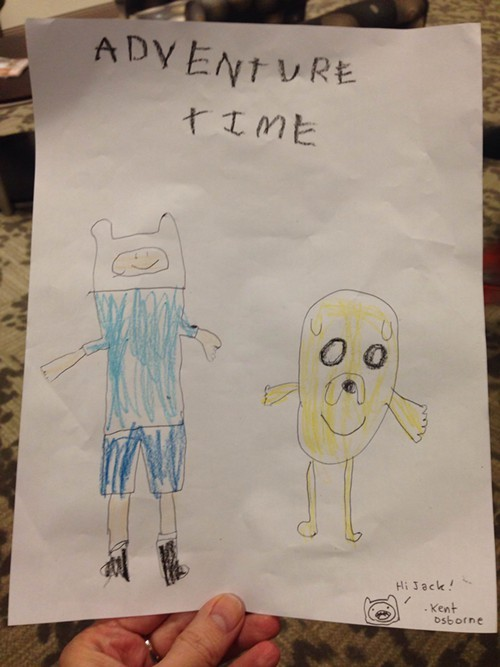 Adventure Time fan art with an autograph by animator Kent Osborne