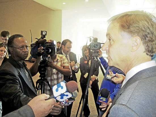 Amid controversy over his gun-permit remarks, Haslam faced the Memphis media.