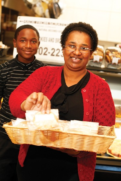 Armelia Young of Made From Scratch Cookie Company and her son Joshua