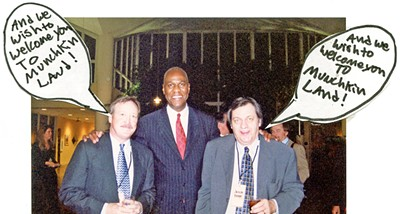 At a previous CMI commemorative event (Flyer, Memphis Magazine, whatever) editor Bruce VanWyngarden and senior editor Jackson Baker were joined by a friend. The dialogue balloons were added by some unidentified wag. This picture is preserved under glass somewhere in Flyerland.
