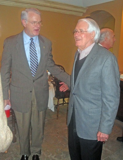 At his Tuesday reception, Luttrell greets octogenarian Bobby Lanier, an aide to every county mayor since the '70s. - JB