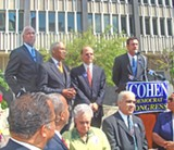 JB - At the Cohen endorsement ceremony, from left, Mayor Willie Herenton, Mayor A C Wharton, Cohen, Democratic chair Matt Kuhn. (At center front are Civil Rights legends Maxine Smith and Russell Sugarmon.)