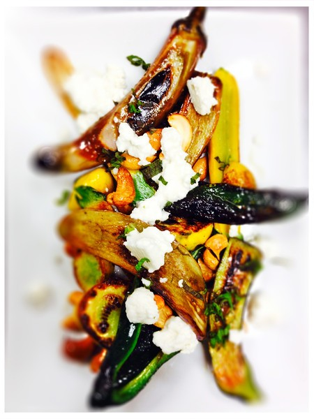 Baby Squash & Eggplant with poblano, feta, mint, and cashews