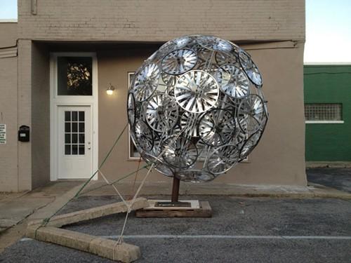 Beacon sculpture awaits repairs after storm damage.