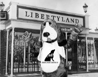 Before kickoff of the first Memphis Hound Dogs home game at Vernon Presley Memorial Stadium, team mascot Fetch celebrates at nearby Libertyland.