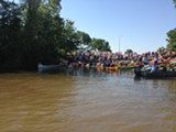 Before the race, at the mouth of the Wolf River.