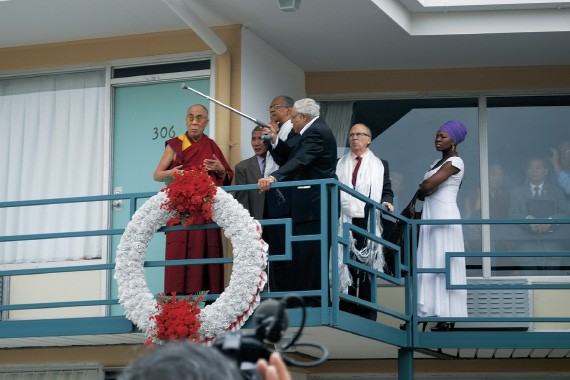 "Benjamin Hooks and the Rev. Samuel ""Billy"" Kyles tell the Dalai Lama about the day Martin Luther King Jr. was shot on the balcony of the Lorraine Motel. J.R. ""Pitt"" Hyde and India Arie look on."