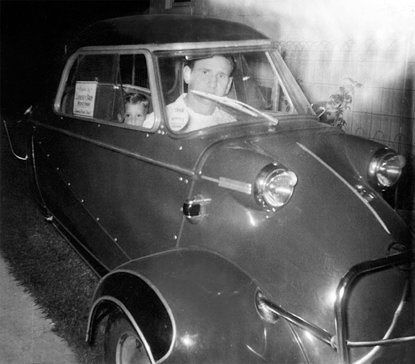 Bernard and Hal (in the backseat) of the Messerschmitt Bernard bought from Elvis