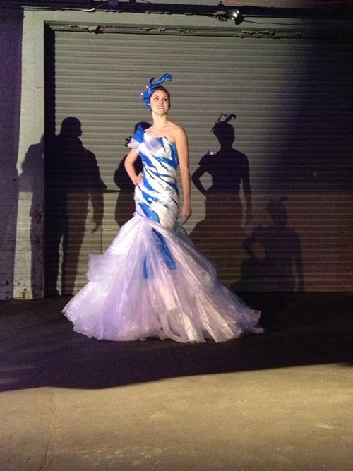 Best of Show winning gown made of plastic bags created by costume designer Bruce Bui.