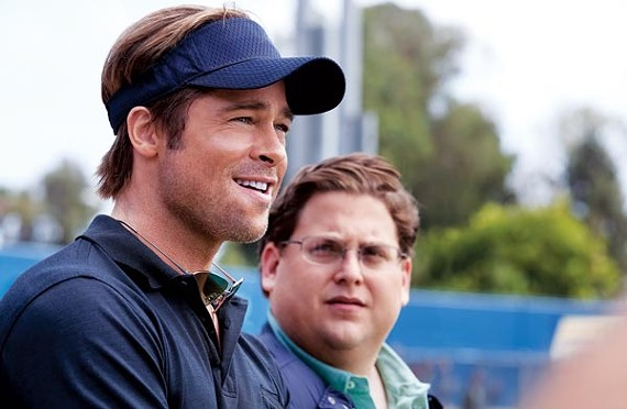Brad Pitt (left) and Jonah Hill, who may be the best thing about Moneyball