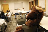 """Buffalo"" sits in with teens at a Shelby Farms input meeting."