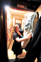 "Candice Corum at the Buccaneer in the ""cloffice"" - JUSTIN FOX BURKS"