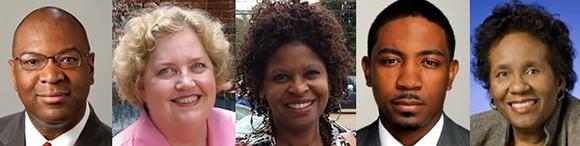 Chairmanship candidates (l to r): Reginald Milton; Randa Spears; Jackie Jackson; Hendrell Remus; Barbara Cooper