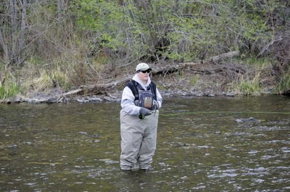 Charlie Bonner fly fishing during a Reel Recovery retreat in Denver