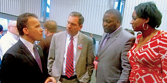 Chatting it up at TEP's weekend  fundraiser were (l to r): Municipal Court Judge Tarik Sugarmon, candidate for Juvenile Court Judge; Michael McCusker, candidate for Criminal Court Clerk; District 7 County Commission candidate Brandon Echols; and political consultant London Lamar.