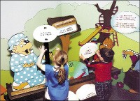 Children interact with the Berenstain Bears exhibit