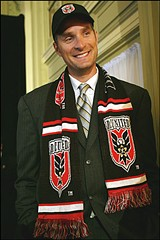Christian Laettner, wearing the colors of his recently purchased Soccer team.