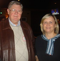 City councilwoman Carol Chumney partied at the Fox and Hound on Sanderlin. Here with campaign guru John Bakke.