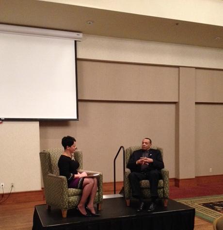 Coach Lionel Hollins talks with WMC Action News 5's Janeen Gordon. - LOUIS GOGGANS