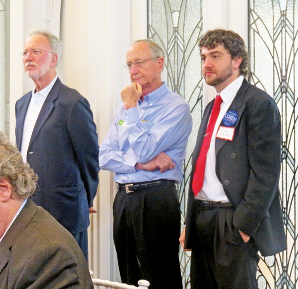 Cohen brain trust at a recent event. From left: strategist Jerry Austin, campaign treasurer Henry Turley, campaign manager John Marek