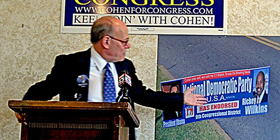 Cohen with the offending sign