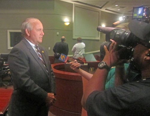 Collierville Mayor Stan Joyner with press after vote