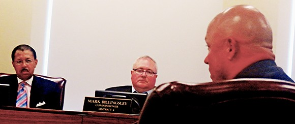 Commissioners Willie Brooks and Mark Billingsley listen to testimony from Firefighters' rep Danny Young. - JB
