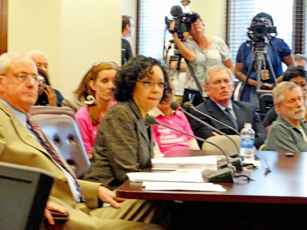 County Health Department head Yvonne Madlock fields questions from commissioners. - JB