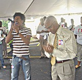 County mayor A C Wharton with American Idol contestant Gedeon McKinney - JB