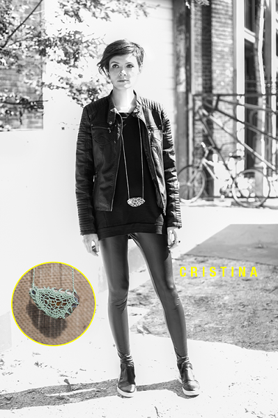Cristina wears a knit stone necklace from her jewelry collection Lyuli