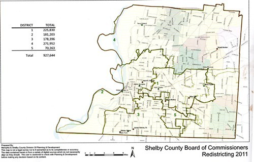 Current Shelby County Commission districts with population stats