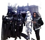 Darth Vader, a TIE pilot, a storm trooper, and a Klingon greet visitors at Saturday's Ashlar Hall open house hosted by the Memphis Comic & Fantasy Convention.