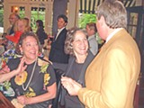 JB - Democrat Jeannie Richardson (left)getting a little help from her friends Friday night, including Nancy Chase and Karl Schledwitz.