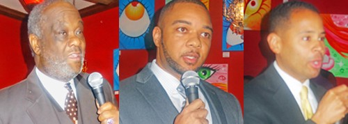 Democratic chairman candidates (l to r): Jennings Bernard, Bryan Carson, Terry  Spicer