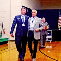 No Hard Feelings Democratic Senatorial candidates Terry Adams and Gordon Ball walk off arm in arm after trading licks in Bolivar debate. JB