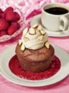 Devil's Food Cupcake with Almond-Mocha Topping on Raspberry Sauce