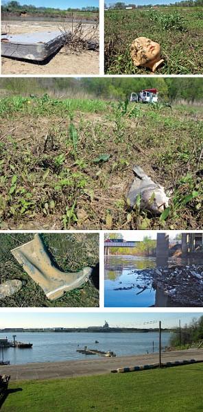Discards, a dead fish, and, at Nonconnah's mouth, McKellar Lake - GARY BRIDGMAN