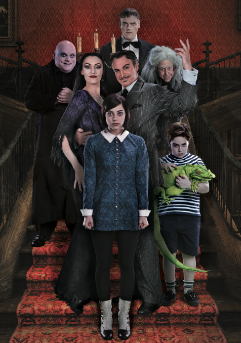 Douglas Sills and the cast of the Addams Family