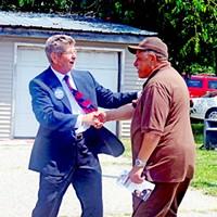 'Howdy, Bro!' East Tennessean John McKamey, a Democratic gubernatorial candidate, greeets DA candidate Joe Brown in Memphis. JB
