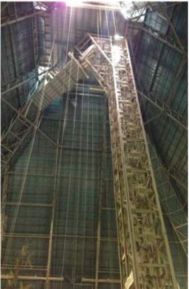 Elevator shafts inside the Pyramid.