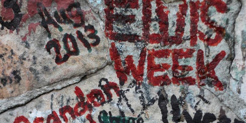 30 Photos of Elvis Fans and Their Elvis Week Shrines Elvis Week graffiti on the wall outside Graceland.